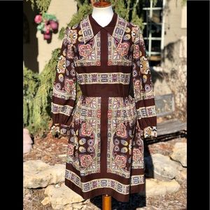 Vintage long sleeve colorful dress approx sz 4
